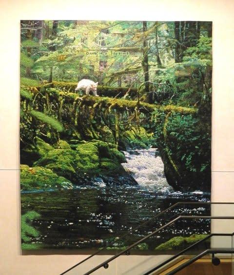 Spirit Bear textile hanging in the Margaret A. Cargill building